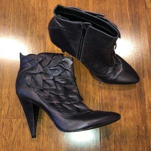 Kelsi Dagger Metallic Purple Leather Ankle Booties